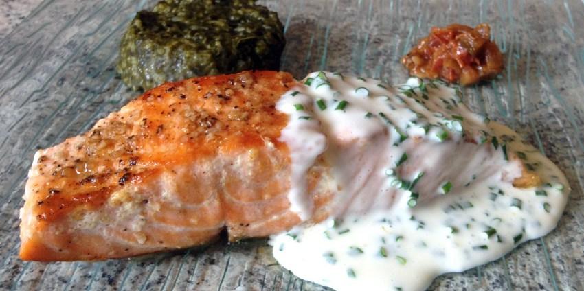 R ti de saumon et st jacques au riz l gumes cr me - Cuisiner du saumon au four ...