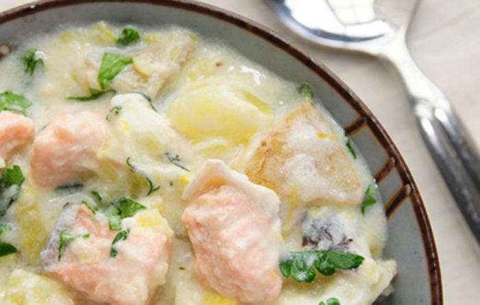 saumon et pommes de terre la cr me recettes cookeo. Black Bedroom Furniture Sets. Home Design Ideas