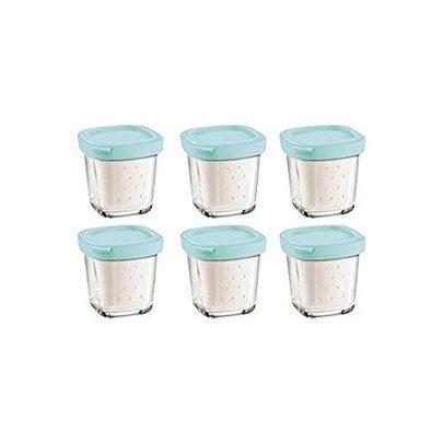 Lot de 6 pots de yaourts seb pour cookeo - Pots de yaourts en verre avec couvercle ...